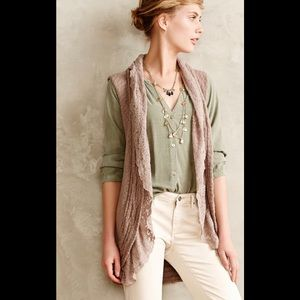 Anthropologie Knitted & Knotted Lacey Sweater Vest